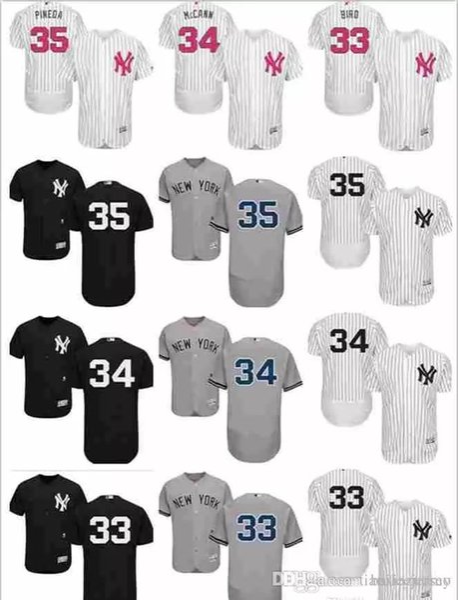 2019 custom hommes femmes jeunes Majestic NY Jersey # 33 Greg Bird 34 Brian McCann 35 ans Michael Pineda Accueil blanc Enfants Baseball Jerse