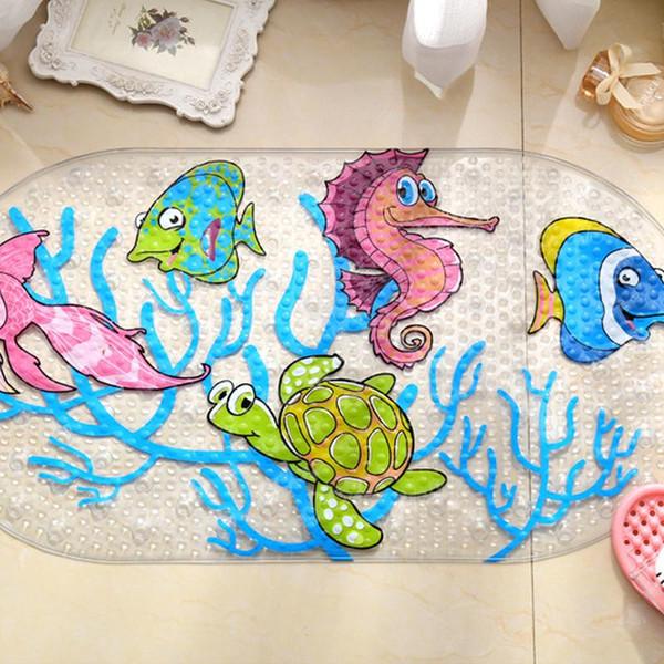 Cartoon Anti -Slip Pvc Bath Mat With Suction Cups Seaworld Turtle Fish Carpet Used For Bathroom