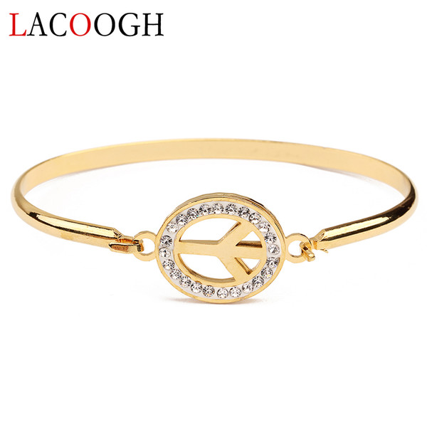 New Trendy Gold Color Stainless Steel Crystal Wire Bangles Bracelets for Women Arm Cuff Female Peace Sign Charms Party Jewelry