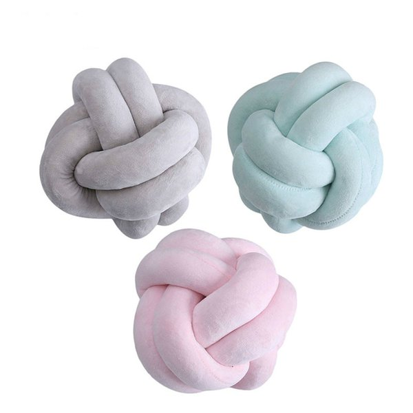 Nordic Style Velvet Knot Ball Baby Pillow Children Calm Sleep Dolls Stuffed Bed Chair Back Cushion Baby Room Decoration