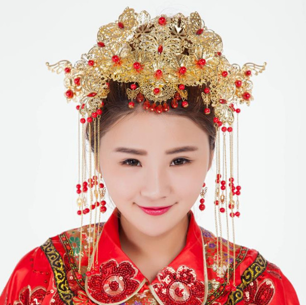 Bridal headwear, Chinese antique, Phoenix crown, bride, accessories, handicraft Xiu, kimono and cheongsam.