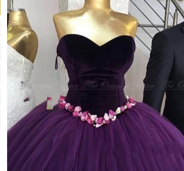 2018 Real Photo Arabic Purple Velvet Ball Gown Evening Dresses Couture Handmade Flower Princess Formal Prom Dress Robe De Soiree