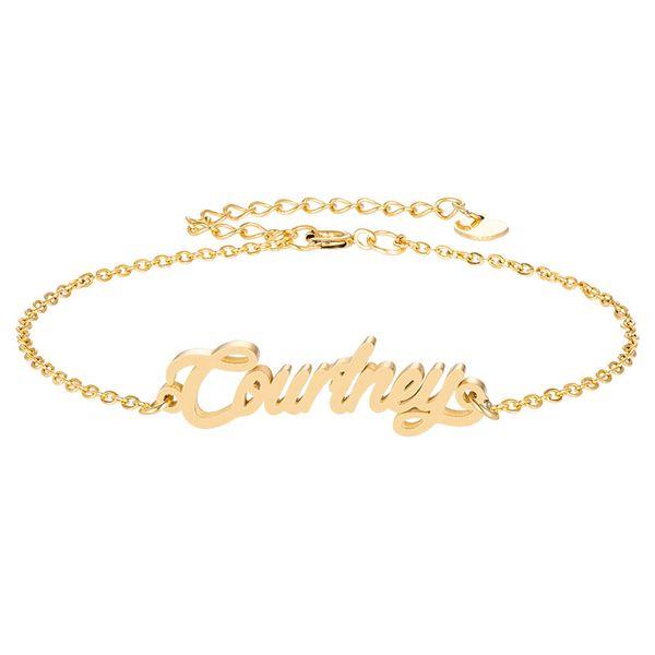 18 k chapado en oro de acero inoxidable pulseras nombre de la letra