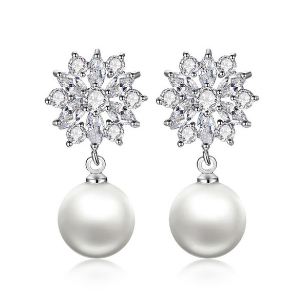 Brand 925 Silver Filled Earrings Exquisite Flower Pearl Drop Dangle Earrings for Women Wedding Engagement Jewelry Unique Gift E024