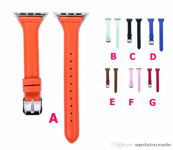 1PCS For Apple Watch strap For apple watch one or two generations of universal leather T word section thin waist monochrome simple 38mm 42mm
