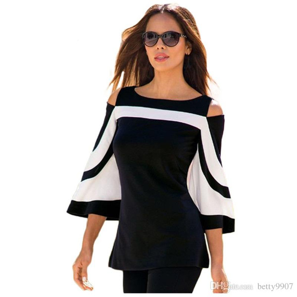2018 New Designer Women s Best Blouse Black White Color block Bell Sleeve Cold Shoulder Top Mujer Camisa Feminina Office Ladies Clothes