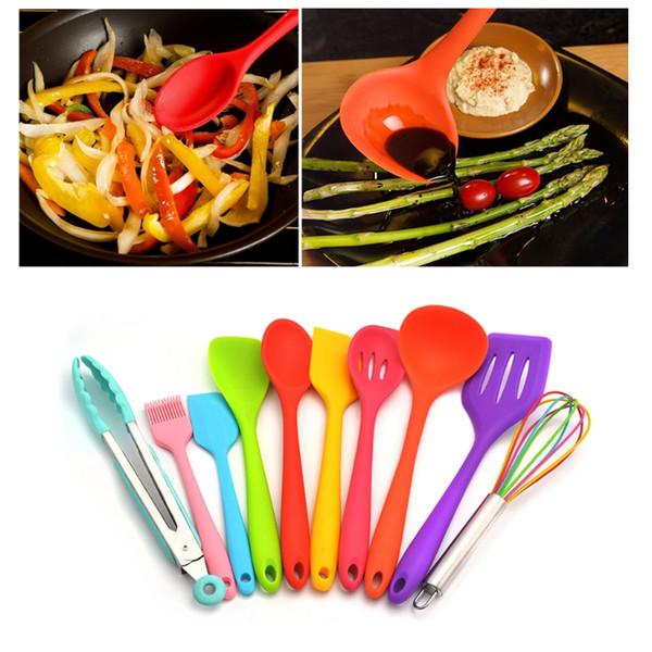 10pcs/Set/lot Multicolor Silicone Kitchen Utensils Kit Shovel Spoon Cooking Gadgets Must Have Kitchen Item