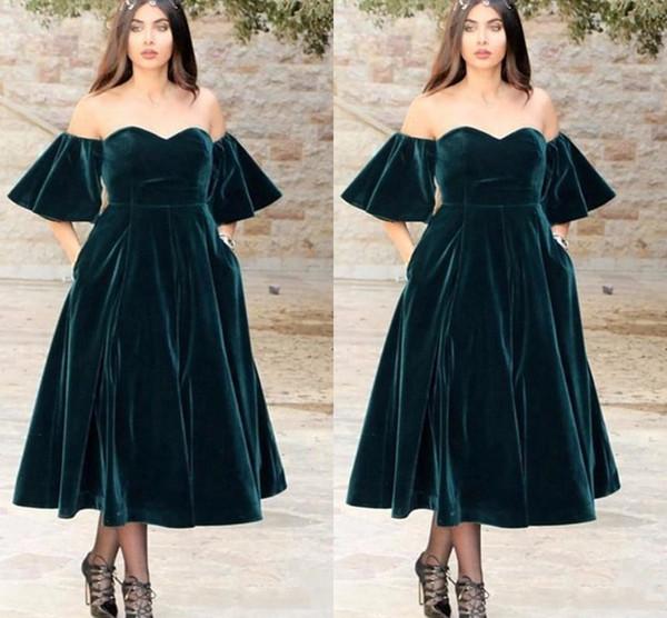 Großhandel 2018 Arabisch Dark Green Velvet Schatz A Line Prom ...