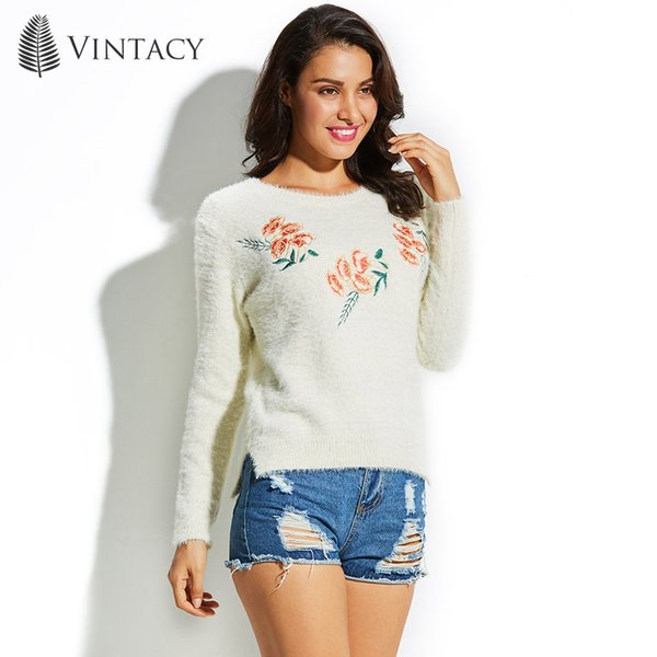 2019 Vintacy Women Sweater Round Neck Long Sleeve Embroidery Floral  Pullover 2018 Top Fashion Modern Female Girls Women\u0027S Sweater S18100902  From