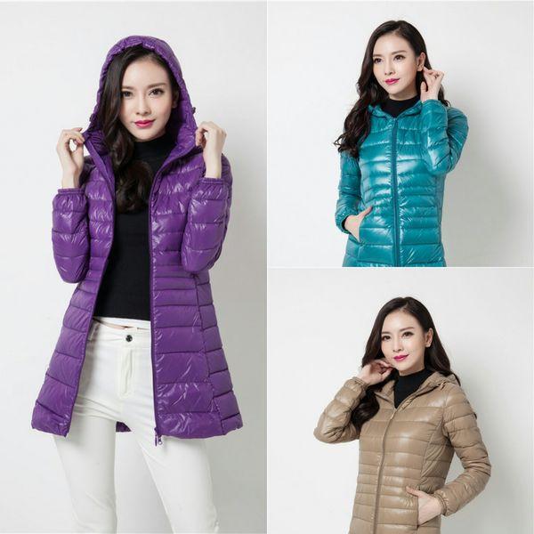 top popular Wholesale 2018 White Duck Down 90% Ultralight Down Coat Medium Length Women Designer Winter Coats Color 9 Size S-3XL Winter Jacket Women 2019