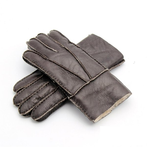 New Men's Winter Gloves Leather Fur Gloves Sheepskin Wool Mittens Medium Thick Warm Leather Driving Male 8 Colors AGB690
