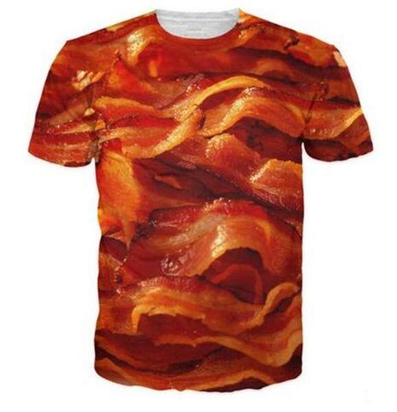 New 3D Funny Foods Clothes T Shirt Delicious Bacon Print T-Shirt Men Women Harajuku T Shirts Funny Food Full Printing Tops