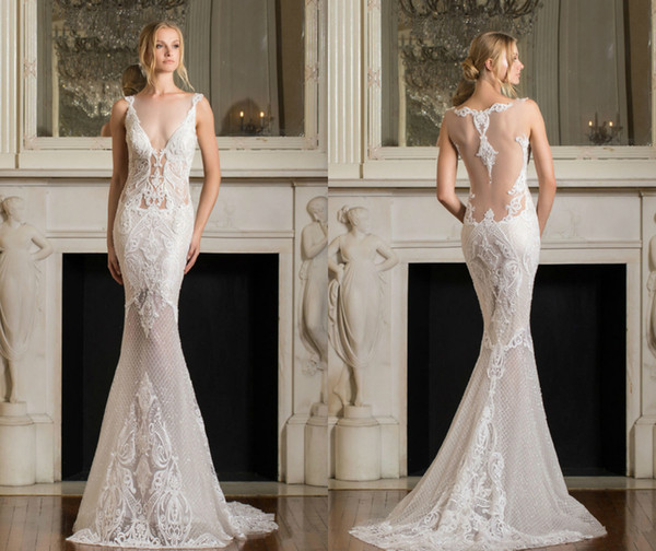 Pnina Tornai 2019 Mermaid Wedding Dress V Neck Backless Lace Applique Sequins Sweep Train Sleeveles Beach Plus Size Custom Made Bridal Gowns