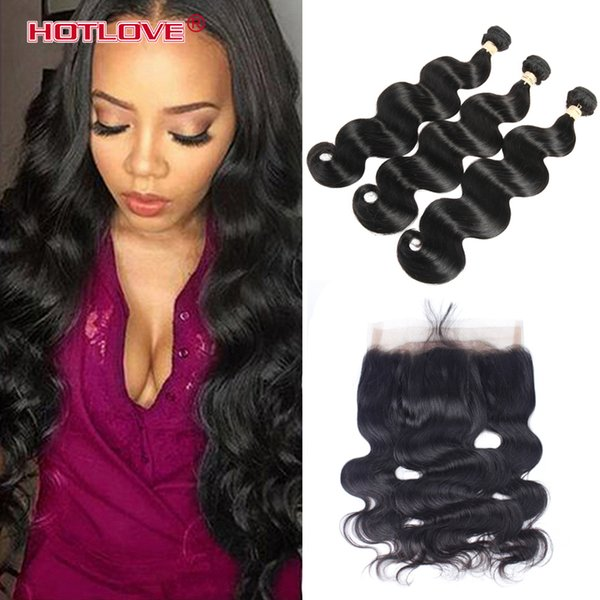 360 Lace Frontal Closure With 2 Pcs /3 Pcs Brazilian Peruvian Virgin Human Hair Body Wave 360 Full Frontal Pre Plucked Natural Hairline