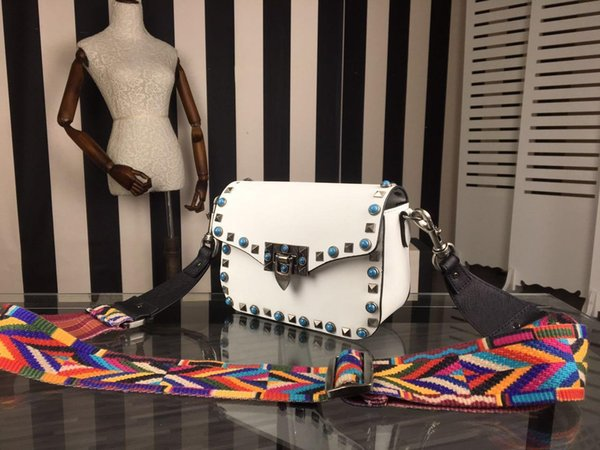 high quality~w335 genuine leather gem colorful strap shoulder bag black grey white 19*15*8cm luxury designer fashion trendy brand