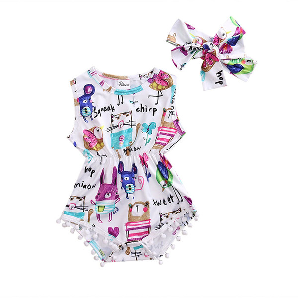 Newborn Baby Girl Cotton Bodysuit Painting Sleeveless Tassels Headband Cute Jumpsuit Outfit Summer Fashion Cool 2018 Wholesale