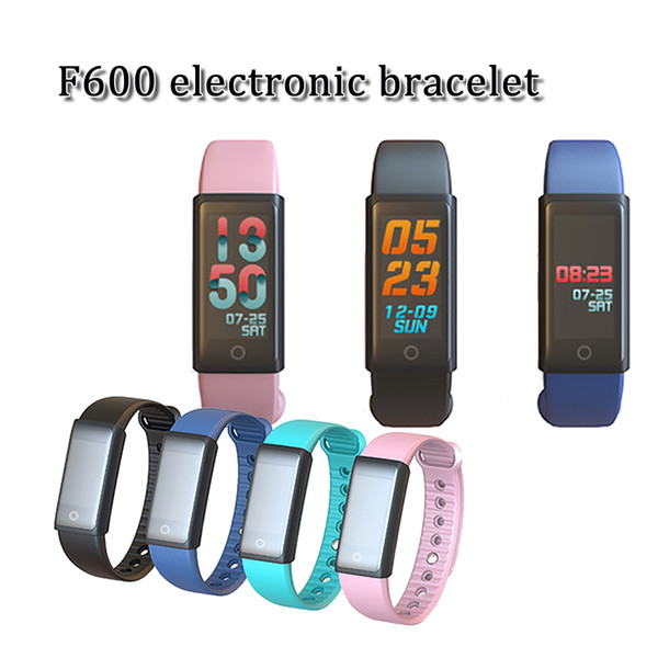 2018 brand new F600 color screen bluetooth v4.1 smart bracelet sports wristband watch with steps heart-rate blood pressure spo2 duration