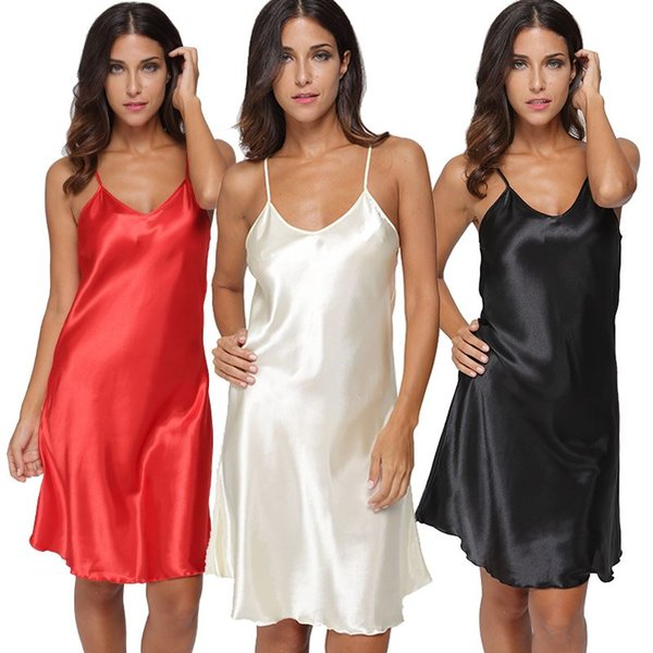 Sexy Lingerie Sleepwear Mini abito da donna Moda Satin Solid Chemise Camicia da notte Dress Donna Deep V Neck Loungewear Pigiama