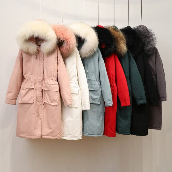 Winter Long Jacket Womens Down Coat Parka White Fur Collar Warm Outerwear Overcoat Hooded Loose Tops 2018 New Fashion