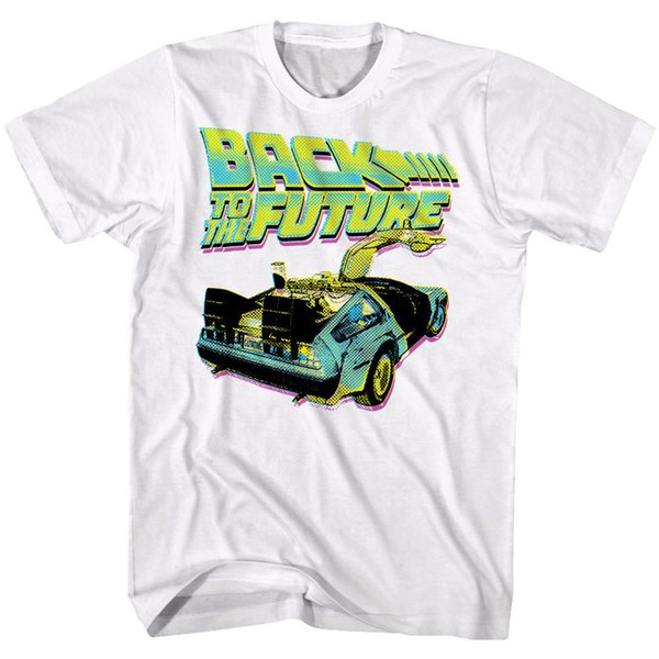 96f15ea8 Back to The Future Neon Halftone Delorean Car Mens T Shirt Retro Time Travel  TopTrump sweat