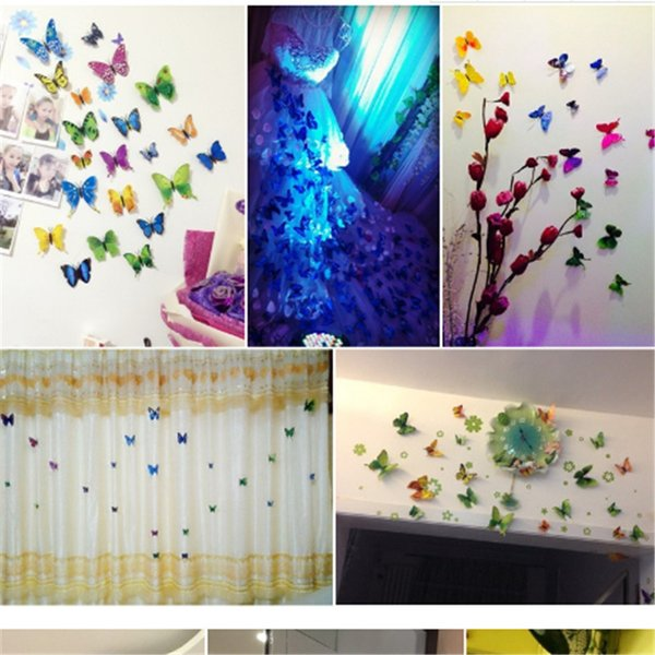 Free shipping 12pcs 3D Art Butterfly Decal Wall Sticker Home Decor Room Decoration