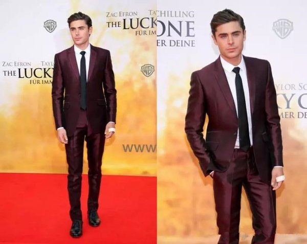 Burgundy Mens Suits Slim Fit Two Pieces Groomsmen Wedding Tuxedos For Men Blazers Notched Lapel Formal Prom Suit (Jacket+Pants)