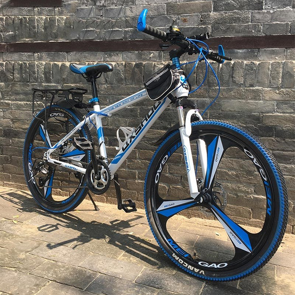 Outdoor 21/24/27 Speed high configuration 24/26 inch Mountain Bikes Double disc brakes One wheel speed change Bicycle Cycling