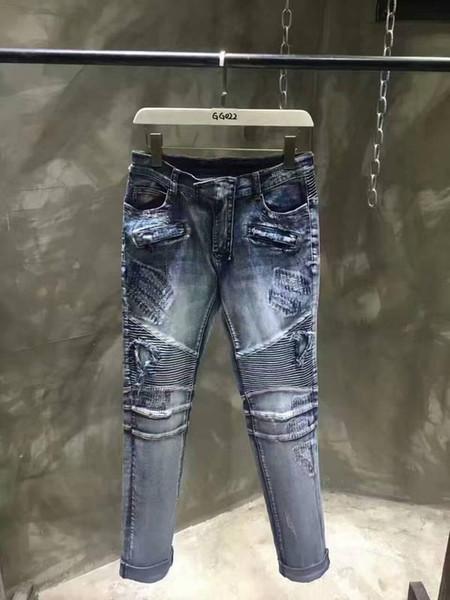 2018 Skinny Slim Fit Washed Coating material Luxury Blue Denim Elastic Motorcycle Mens BM512-513 Jeans Designer SZ28-40 Top Men jeans