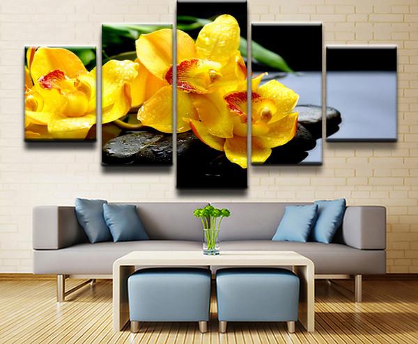 Su geçirmez Tuval Boyama Oturma Odası Ev Duvar Sanat Baskı Resimleri 5 Parça / takım Çiçek Orkide Bahar Taş Su Sarı Çiçek