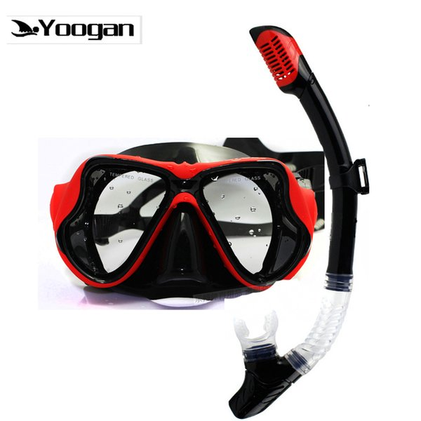 Yoogan Miyop Mercek Şnorkel Seti Siyah Silikon temperli Mercek Tüplü Dalış Maskesi Kuru Şnorkel Optik Dalış Takımı için Miyop