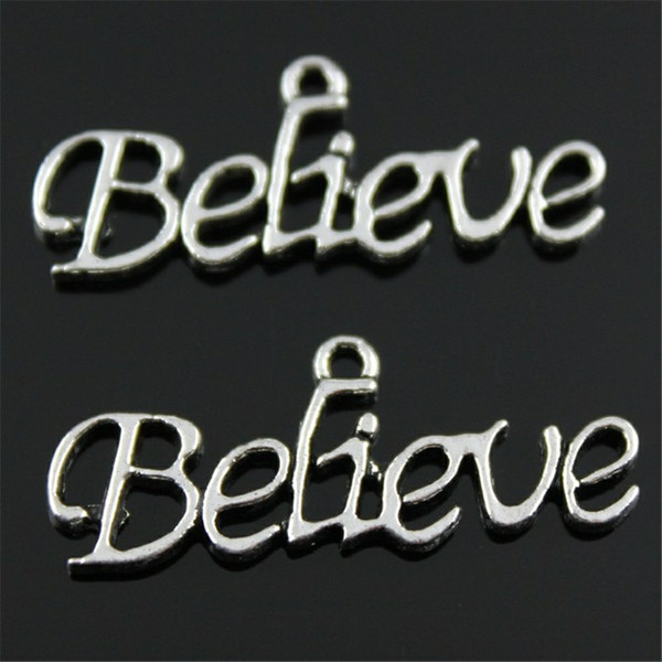 15pcs Charm Believe Believe Pendant Charms For Jewelry Making Antique Silver Word Charms 13x33mm