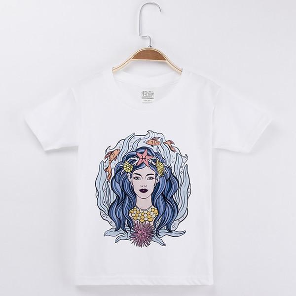 2018 Hot Sale Children Clothes Kids T-shirt Beautiful Mermaid 100% Cotton Child Short T Shirt Baby Girls Tops Tee Girl Clothing Camiseta