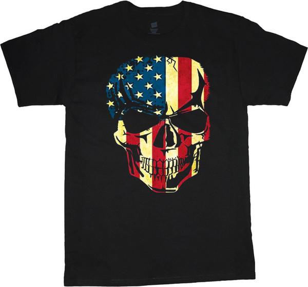 Big man shirt American flag skull tee mens plus size big and tall