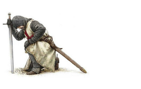 Knights Templar Kneeling at His Sword Home Decor Wall Stickers Art Silk Poster 24x36inch 24x43inch