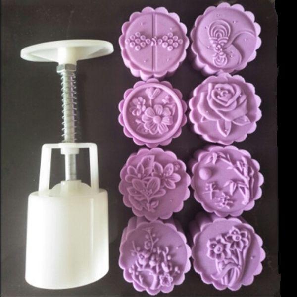 Nouveau 50 g 3D Jonquilles Rose Fleur Gâteau Plongeur Outils En Plastique Lune Gâteau Moule De Cuisson Pâtisserie Outils Main Presse Mooncake Moule Timbres