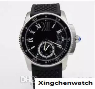 2018 new Luxury automatic caliber 6 DIVER black rubberband glass back sport sapphire quality big dia