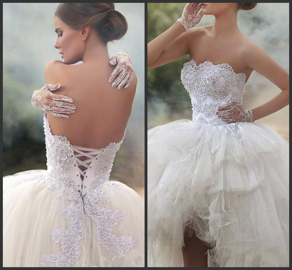 2019 New Strapless Sleeveless Bridal Gowns With Applique Beaded Tiered Ruffle Wedding Gowns High Low Back Lace-Up Custom Made Bridal Dresses
