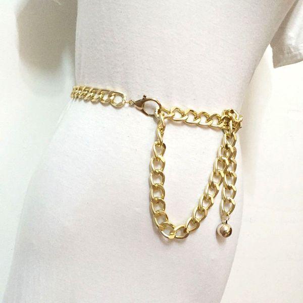 Moda Cintura De Metal Cadeia correias cummerbunds para as Mulheres meninas Das Senhoras cor de ouro grosso punk legal hip hop Longo de Cintura De Luxo