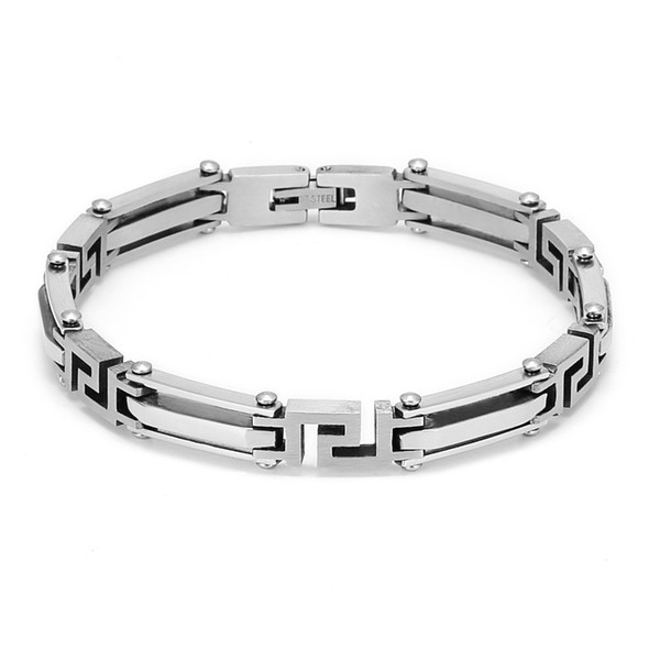 Silver Hollow Thin Men Male Stainless Steel Metal Bracelet Bangle Slim Chain Lock Link Box With Tongue Clasp Jewelry +Bag/AAB010