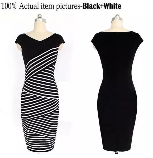 Compre Vestido De Rayas Blanco Y Negro De Verano Para Mujer Vestido ...