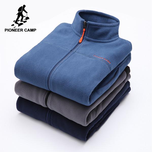 e201a81f Pioneer Cam теплый флис толстовки мужчины бренд-одежда осень зима молния  кофты мужчины качество мужская