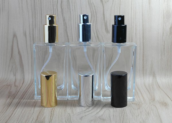50ML empty square clear glass perfume bottles with aluminum mist atomizer refillable spray perfume glass bottle