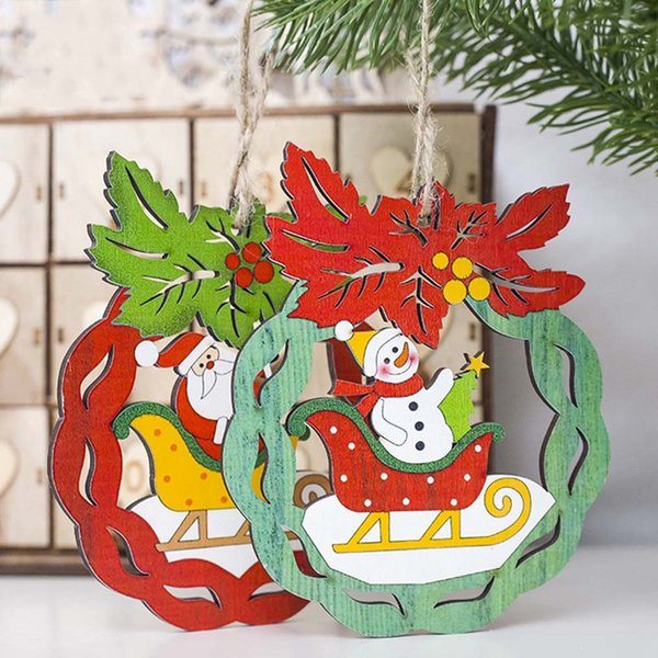 1PC Christmas Santa Claus/Snowman Wooden Pendants Ornaments Xmas Tree DIY Crafts Kids Gift for Home Christmas Party Decorations