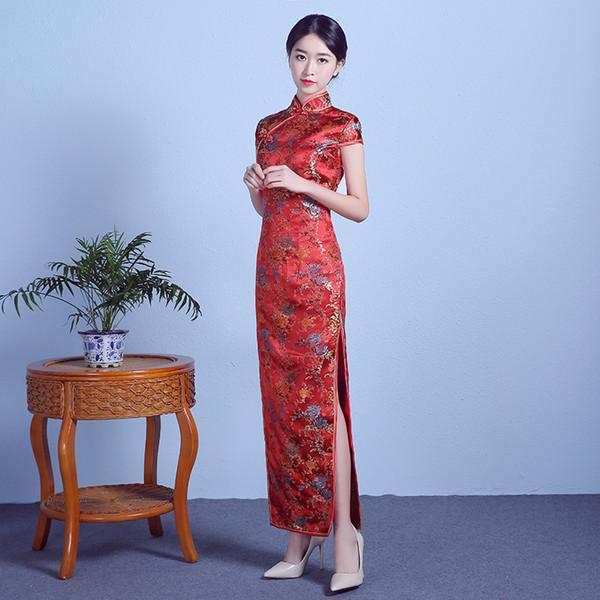2018 Moda Geleneksel Çin Cheongsam Elbise Kırmızı Qipao Düğün Robe Rouge Oryantal Tarzı Elbiseler Qi Pao