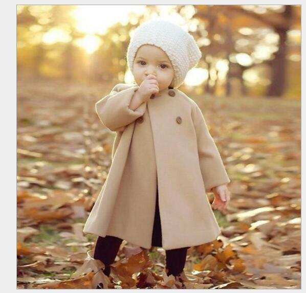top popular Toddler Baby Girls Classic Button Decor Wind Coat Suitable for 0-4 Years Winter Warm Jacket Cloak Tops Clothing Set 2019