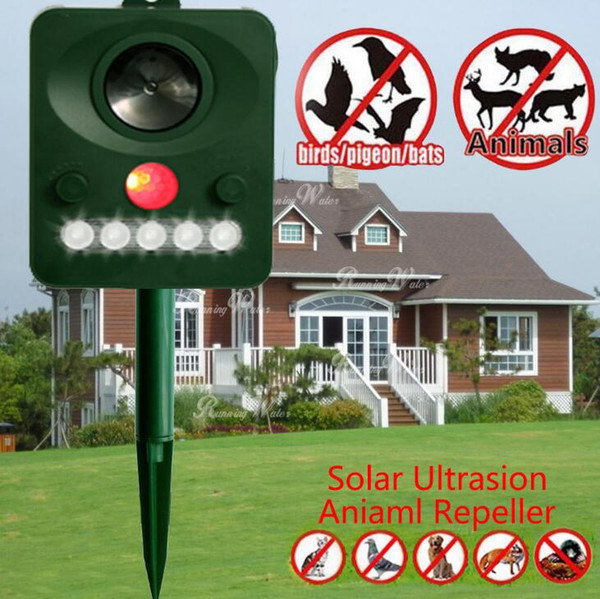 Solar Ultrasonic Animal Repeller Solar Power Sensore a infrarossi Animali Gatti Cani E Uccelli all'aperto Dispositivo di dislocazione GGA390 10PCS