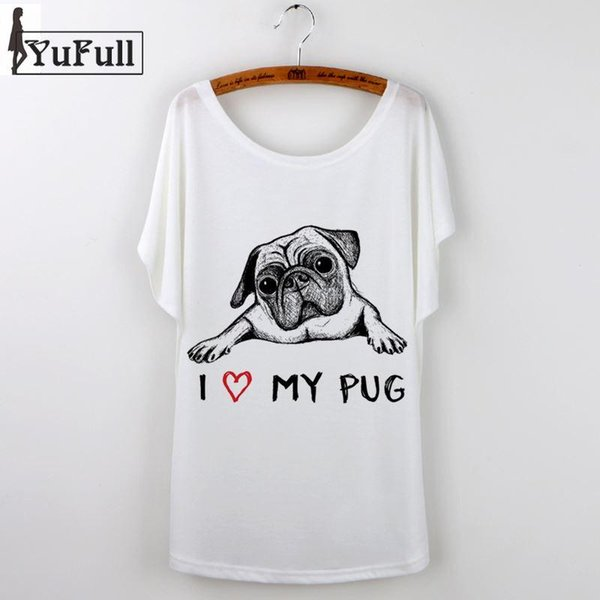 2018 Korean Graphic Tees Women T shirt Cartoon Pug Print Short Sleeve female T-Shirt White Casual tshirt Tops French Bulldog
