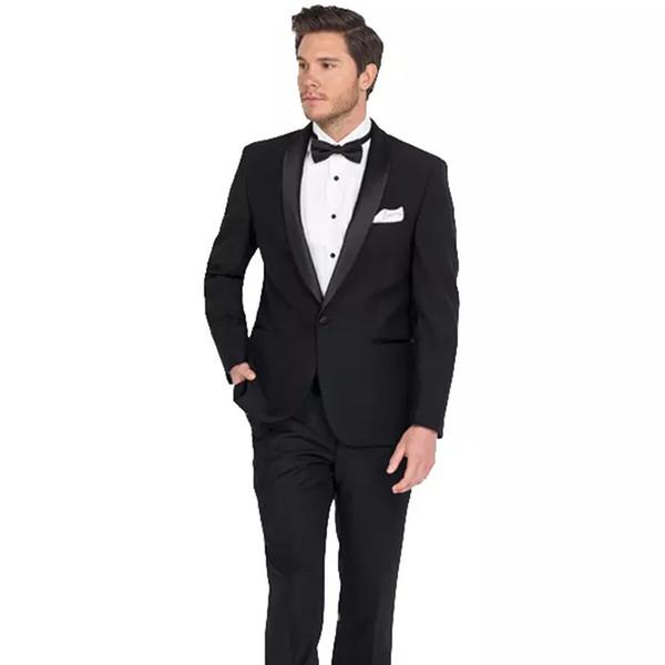 2018 Men Suits Black Shawl Lapel Wedding Suits For Man Bridegroom Slim Fit Formal Custom Made Tuxedos Best Man Evening Dress Prom 2Pieces