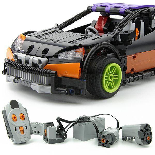 20053 Technology MOC Machine Group Electric Remote Control Car Assembled Building Block Model Arakawa Small Steel Gun Sports Car