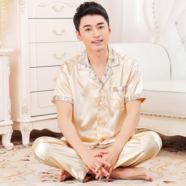 2017 New Brand Mens Satin Pajama Summer Short Sleeve China Silk Sleepwear Nighties Male Quality Plus Size Silk Pijama Nightwear